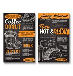 Fast food tacos donut coffee sketch menu vector