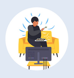 Fat obese man eating sushi overweight guy sitting vector