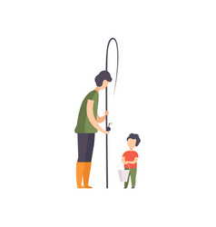 father and his son going to fishing vector image