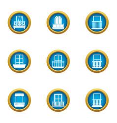 fenestra icons set flat style vector image
