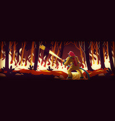 Fireman fight with fire in forest catastrophe vector