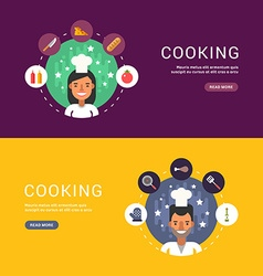 Food and Cooking Icons and Chef Cartoon Character vector image