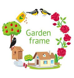 frame round garden vector image