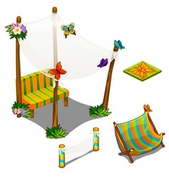 Furniture and butterfly decorations for veranda vector