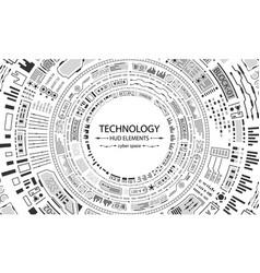 futuristic hud circles design technology vector image