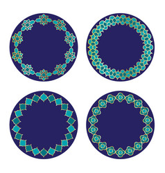 gold blue moroccan circle frames vector image