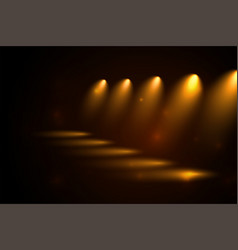 Golden spotlights pathway in perspective style vector