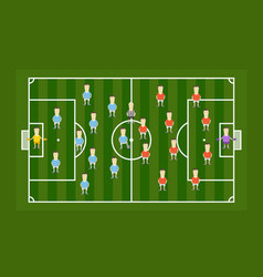 Green football field with football players vector