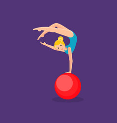 Gymnast girl entertains audience showing exercise vector