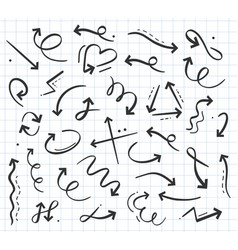 Hand drawn doodle arrow icon in various directions vector