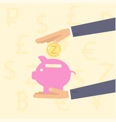 hand holding piggy bank with coin vector image