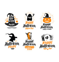 Happy halloween lettering holiday greeting card vector