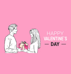 Happy valentines day poster sketch man give gift vector