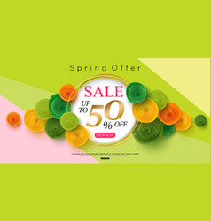 Horizontal spring sale banner design vector