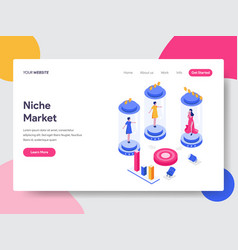 Landing page template niche market isometric vector