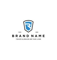Letter r shield concept logo design vector