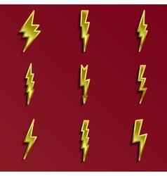Lightning 3d icons set vector image