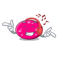 listening music ellipse mascot cartoon style vector image