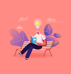 Male character reading literature narration vector