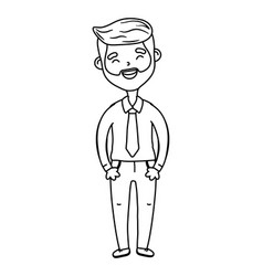 man avatar cartoon character black and white vector image