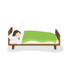 man is sleeping in his bed vector image