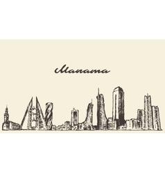 Manama skyline Bahrain drawn sketch vector