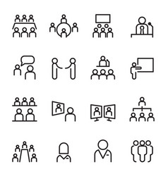 meeting conference icon set thin line icons vector image