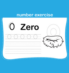 Number exercise with cartoon coloring book vector