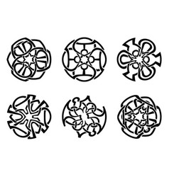 ornament decorative celtic knots and curls set vector image
