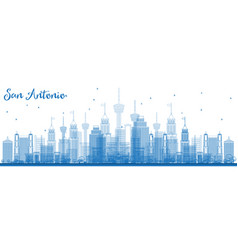 Outline san antonio usa city skyline with blue vector