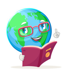 Reading book ecology happy emotion nature earth vector