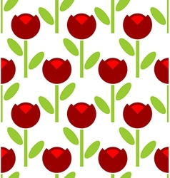 Red Tulip seamless pattern flower background Retro vector image