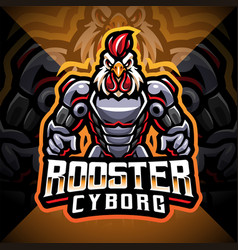 Rooster cyborg mascot logo design vector