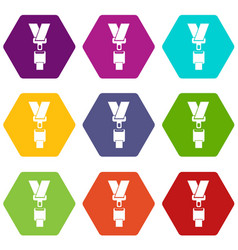 Safety belt icon set color hexahedron vector