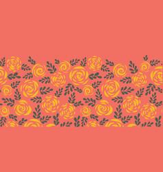 scandinavian flat roses border tile coral vector image