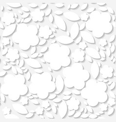 seamless white origami pattern with flowers vector image