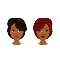 set of african american female face with different vector image