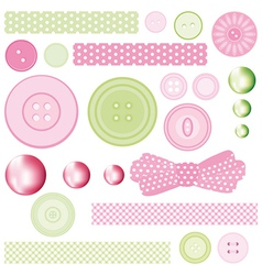 Set of elements for design Buttons and Pearls vector