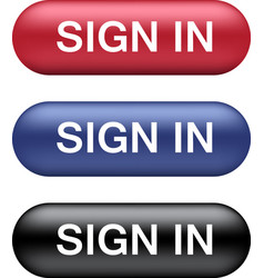 sign in buttons collection vector image vector image