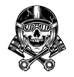 skull in racer helmet and crossed pistons design vector image