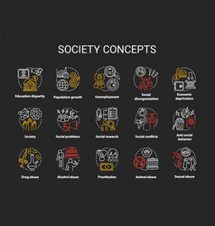 Society chalk concept icons set social issues vector