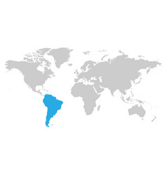 South america continent blue marked in grey vector