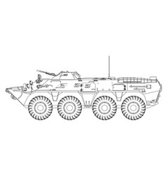 soviet armored personnel carrier outline drawing vector image