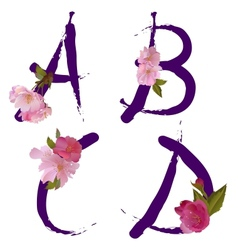 Spring alphabet with gentle sakura flowers ABCD vector