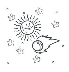 Stars asteroid sun space sketch design vector