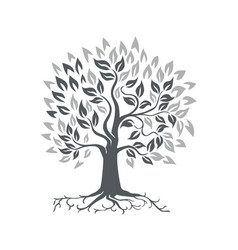 Stylized oak tree with roots retro vector