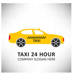 taxi icon taxi service 24 hour serrvice yellow vector image