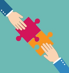 Teamwork concept Businessman put pieces of puzzle vector