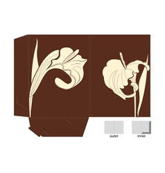 Template for folder with Calla lily flowers vector