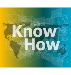 The word know how on digital screen social vector image